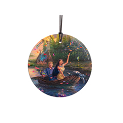 This StarFire Prints™ Hanging Glass Decoration features Disney's most colorful movie, Pocahontas. The vivid image is fused permanently into glass.  Hang this officially licensed Disney and Thomas Kinkade Studios Hanging Glass in a window