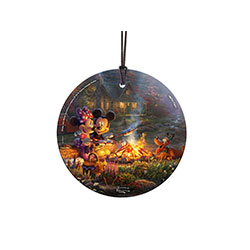 Mickey, Minnie, and Pluto enjoy s'mores and time together near a toasty campfire in this officially licensed StarFire Prints™ Hanging Glass Decoration. Only Thomas Kinkade and Disney could join together to create such a warm, colorful scene.