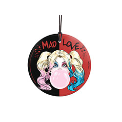 Harley Quinn has cotton candy hair, pops a giant bubblegum bubble, and tries to convince you she's not imagining burning the whole place to the ground.  This officially licensed DC Comics image is fused directly and permanently into a light-catching glass
