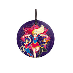 Supergirl, Wonder Woman, and Batgirl … in high school together? Fun! This officially licensed DC Comics image is fused directly and permanently into glass for a dazzling, light-catching display.  Comes with hanging string for easy display.