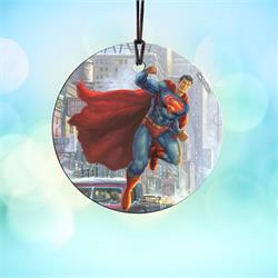 It's a bird! It's a plane! No, it's Superman! Now you can have the Man of Steel hanging in your home with this StarFire Prints hanging glass decoration.