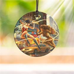 Wonder Woman and Cheetah take each other on in this artwork by Thomas Kinkade Studios. Now, you can place two of The Women of DC wherever you want to on this StarFire Prints Hanging Glass decoration.