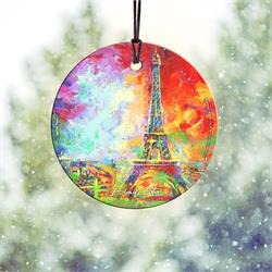 The Eiffel Tower bursts with color in this hanging glass collectible featuring art by Blend Cota. As light passes through the decoration, the color comes to life, letting anyone who sees it in your house admire the beauty of Paris' famous landmark.