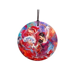 The Flamenco Dancer poses in this stunning StarFire Prints™ Hanging Glass Collectible. Featuring artwork by Blend Cota, this decoration features vibrant reds and blues, helping the dancer come to life.