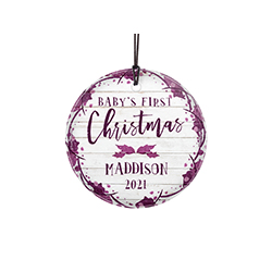 Celebrate a sweet little one's first Christmas with a farmhouse shiplap-style design and purple accents. This hanging decoration is made of glass for a long-lasting, light-catching display.