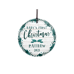Celebrate a sweet little one's first Christmas with a farmhouse shiplap-style design and teal accents. This hanging decoration is made of glass for a long-lasting, light-catching display.