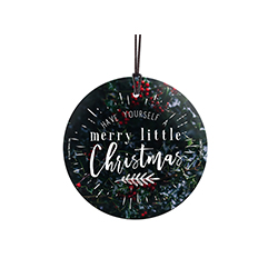 Have yourself a merry little Christmas. It would be hard not to with this merry glass decoration. The image of frosted Holly berry foliage directly and permanently into the glass. This hanging decoration is made of glass for a long-lasting decoration.