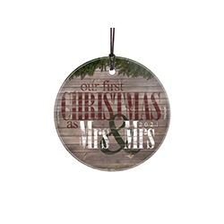Celebrate your first Christmas married with this festive decoration. The image featuring a rustic wood style print and classic red, green and white is fused directly into the glass!
