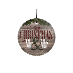 Celebrate your first Christmas married with this festive decoration. The image featuring a rustic wood style print and classic red, green and white is fused directly into glass!