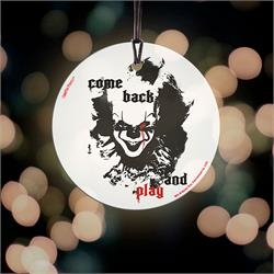 "Pennywise is ready to play again. The Dancing Clown wants you to ""Come Back and Play"" in this StarFire Prints ™ Hanging Glass Collectible. Perfect for horror fans! Comes with hanging string"