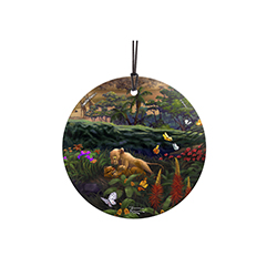 Show off young love with this Beautiful Disney painting. Thomas Kinkade Studios has captured Nala and Simba from The Lion King playing amongst the flowers and butterflies. This hanging decoration is perfect for the Disney fan in your life.