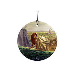 Simba and Nala enjoy time together in this beautiful Disney print. In the background sits Pride Rock, painted stunningly by Thomas Kinkade Studios.