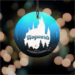 You've read about it and seen it in the movies, now you can display part of Hogwarts in your house. The silhouette of the castle takes center stage in this StarFire Prints Hanging Glass decoration.