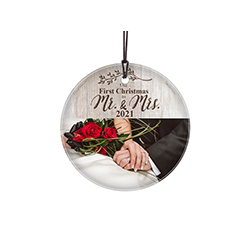 "Featuring a faded wood design, this 3.5"" circular glass ornament features the phrase ""Our First Christmas as Mr. and Mrs."", your wedding year and a space to upload your image."