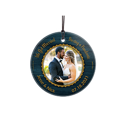 "This 3.5"" circular glass ornament features the phrase ""We Got Married During a Pandemic"" and places to enter your names and wedding date. Add your favorite photo to the center of this elegant design."
