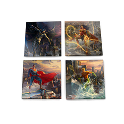 his glass coaster set includes Aquaman with his trident in hand, Superman observing the city from above, Batman swinging into action and Wonder Woman with her Lasso of Truth on a neighboring building.