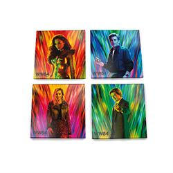 "Are you excited to see what adventures are in store in the upcoming Wonder Woman 1984? So are we! This set of four 4"" x 4"" glass coasters feature vivid neon hues along with four of the main characters of this DC Comics film."