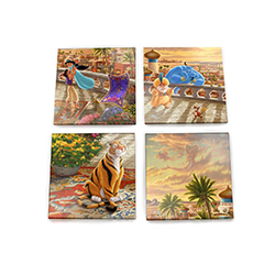 "This set of four 4"" x 4"" coasters showing different pieces of an entire Thomas Kinkade masterpiece! Princess Jasmine and Aladdin twirl about underneath the Arabian sunset with the magic carpet seemingly cheering beside them."