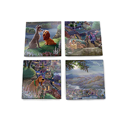 "This set of four 4"" x 4"" coasters showing different pieces of an entire Thomas Kinkade masterpiece! One coaster shows Lady and Tramp sitting on top of a hill overlooking the water below, appearing to be falling in love."