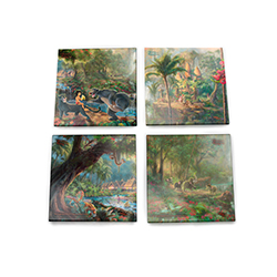 Bring the magic of Disney's The Jungle Book into your home with this StarFire Prints glass coaster set featuring images from Thomas Kinkade Studios' panoramic painting, The Jungle Book, done in the artist's instantly recognizable, luminous style.