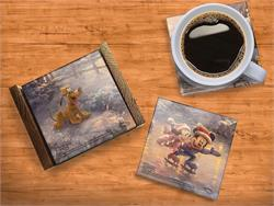 Mickey and Minnie are having a blast during the winter season! This set of four glass coasters feature the Mouse couple, Pluto, Donald and Goofy enjoying their time on the ice and snow.