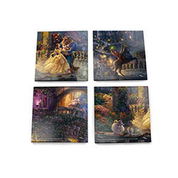 Protect your tables as well as your childhood memories with this four-piece glass coaster set featuring the detailed work of Thomas Kinkade Studios and their rendition of a scene from Disney's Beauty and the Beast.