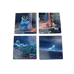This set of 4 glass coasters features the magic of Cinderella and the luminous colors and details of Thomas Kinkade Studios. Each dazzling coaster features a different scene: