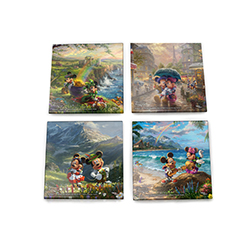Mickey and Minnie are traveling the world! Each of these dazzling glass coasters features a different scene by Disney and Thomas Kinkade Studios: