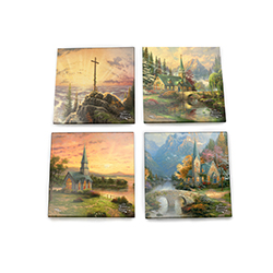 Protect your surfaces with Thomas Kinkade's serene, soul-warming works of art. Each glass coaster features a different scene: