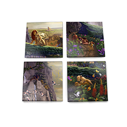 Show your love for Disney's The Lion King with this glass coaster set. The coasters show off young Simba and Nala, adult Simba and Nala, Timon and Pumba and Scar and the hyenas. Each coaster comes from Thomas Kinkade Studios painting of The Lion King