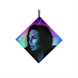 """If no one else will defend the world, then I must."" Gal Gadot is back to defeat evil forces in Wonder Woman 1984! Channeling the vibrant neon style of the 1980s, this hanging glass accessory features Diana Prince's face highlighted by blue & purple hues."