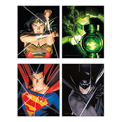 "The Justice League unites on this set of four 8"" x 10"" TrendyPrint Wall Art! Alex Ross's detailed illustrations of Wonder Woman, Green Lantern, Superman and Batman are absolutely beautiful as the DC Comics members are displayed against a dark background."