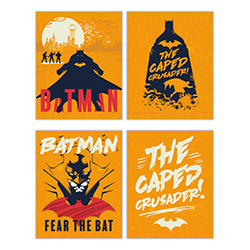 "Batman is ready to defend Gotham City on this set of four 8"" x 10"" TrendyPrint Wall Art! Each print contains a bright orange background along with a unique design of the Caped Crusader. This makes a great decoration for any DC Comics fan."