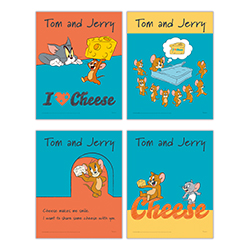 """Cheese makes me smile. I want to share some cheese with you."" This set of four 8"" x 10"" TrendyPrint Wall Art prints is a great sentiment to Jerry's love for cheese. Each print displays a unique design to show the famous mouse's love for his favorite food"