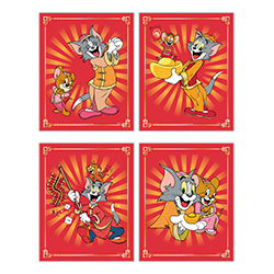 "Happy Chinese New Year! This set of four 8"" x 10"" TrendyPrint Wall Art prints features Tom and Jerry in traditional cultural outfits along with beautiful red and gold accents throughout the designs."