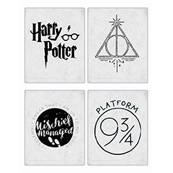 There are iconic symbols that all Harry Potter fans know. The Platform 9 ¾ train stop, the Deathly Hallows, the wording on the Marauder's  Map and, of course, the series logo. Now, you can show off these series symbols with this TrendyPrint Wall Art set o