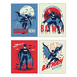 "Gotham City's hero is back in action on this set of four 8"" x 10"" TrendyPrint Wall Art! Displayed in a color pallete of reds, blues and off-white, Batman is ready to fight bad guys on this unique home décor. This is the perfect gift for Batman fans."