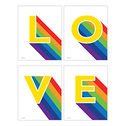 "June is known as Pride Month. Show your support of the LGBTQ+ community with this set of 4 TrendyPrint Wall Art. The word ""LOVE"" is spread across four 8"" x 10"" decorative luster papers to express your pride wherever you choose."