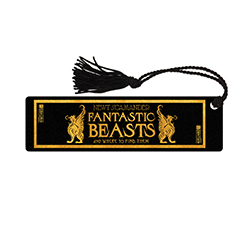 Even if you're not reading a book about magical beasts, this bookmark will add a touch of whimsy to any page.     The durable, glossy bookmark features the title of Newt Scamander's book, Fantastic Beasts and where to find them. On the back is the logo