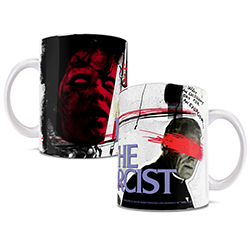 Horror fans all remember the first time they saw The Exorcist. Now, you can commemorate that moment forever with this white ceramic mug. A possessed Regan is featured on the mug, as well as the preacher with his eyes scratched out.