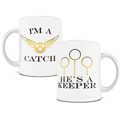 Now, you can show off your love of Quidditch and each other with this white ceramic mug. Features the Snitch and Quidditch goals.