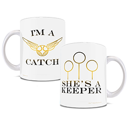 . Now, you can show off your love of Quidditch and each other with this white ceramic mug. Features the Snitch and Quidditch goals.