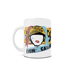 The infamous ex-girlfriend of Gotham's notorious villain, Joker, is out for vengeance in Birds of Prey. This 11 oz white ceramic mug features a unique design showing caution tape and an artistic interpretation of Harley Quinn with bright neon colors.