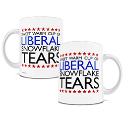 Nothing tastes better in the morning than a cup of Liberal snowflake tears. Now, you can show off your Republican pride with this white ceramic mug.