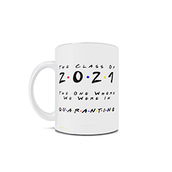 "This Friends inspired 11 oz ceramic mug is perfect for the grad who loves Friends but is unfortunately being impacted by quarantine. This mug is the perfect way to say ""I'll be there for you"" during these challenging times."