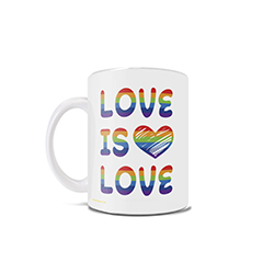 "June is known as Pride Month. Show your support of the LGBTQ+ community with this 11 oz ceramic mug that features the phrase ""Love is Love""."