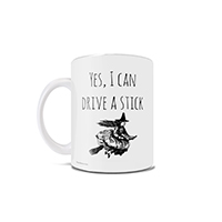 "Can you drive stick? A broomstick, that is? Show off your impressive abilities with this 11 oz ceramic mug this spooky season! This unique mug features the phrase ""I Can Drive Stick"" along with a witch flying on a broomstick. This is the perfect punny gif"