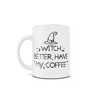 Witch better have my coffee! Based on the hit song from Rihanna, this 11 oz ceramic mug features a witch's hat and a punny phrase that is sure to get you in the Halloween spirit this spooky season.