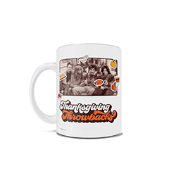 Reminisce on your favorite Thanksgiving episode of Friends with this 11 oz ceramic mug. The drinkware features an image of Thanksgiving-hating Chandler, pre-nose job Rachel, dorky Ross and fat Monica from Thanksgiving at the Geller's home in 1987.