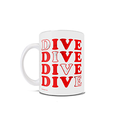 "Featuring a unique design of the word ""DIVE"" written several times, this 11 oz ceramic mug great for the ocean lover in your life."